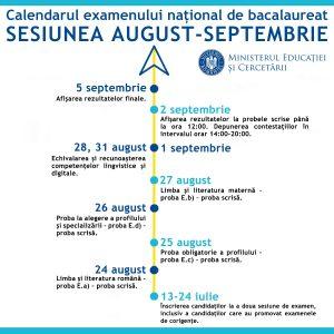 CALENDARUL EXAMENULUI NAȚIONAL DE BACALAUREAT- SESIUNEA AUGUST- SEPTEMBRIE 2020
