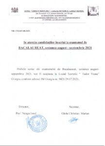 ANUNȚ BACALAUREAT-SESIUNEA AUGUST-SEPTEMBRIE 2021